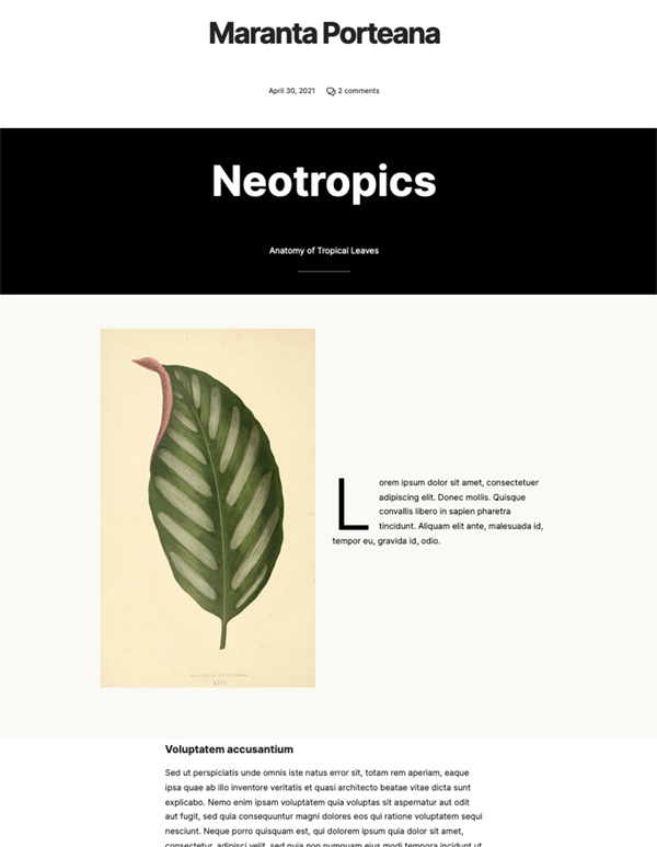 Full width cover and 2 columns with beige background